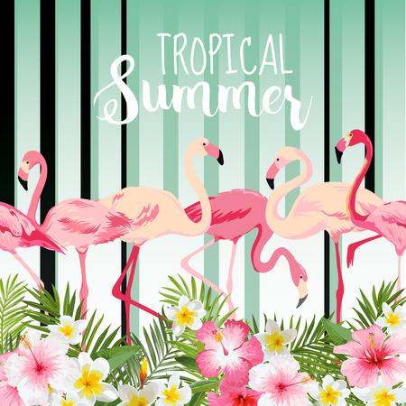 Illustration pour Flamingo Bird Background. Retro Pattern. Tropical Background. Tropical Flower. Floral Background. Vector Background. - image libre de droit