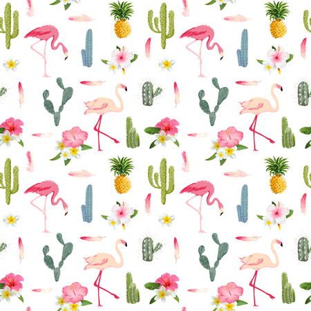 Photo for Tropical Background. Flamingo Bird. Cactus Background. Tropical Flowers. Seamless Pattern. Vector - Royalty Free Image