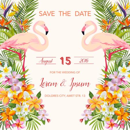 Illustration pour Save the Date. Wedding Card.  Tropical Flowers. Flamingo Bird.  Tropical Card. Tropical Vector. Floral Background. - image libre de droit