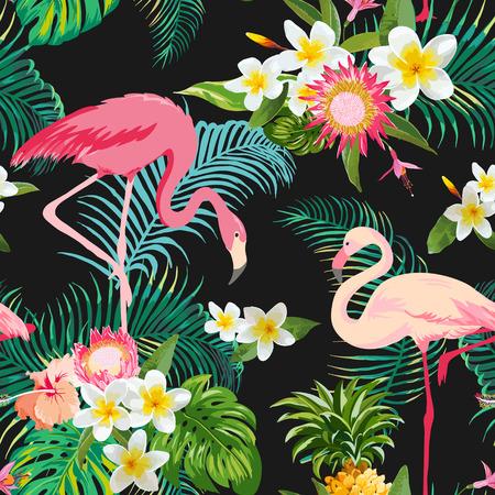 Illustration pour Tropical Flowers and Birds Background. Vintage Seamless Pattern. Vector Background. Flamingo Pattern. - image libre de droit