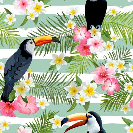 Illustration pour Toucan Bird Background. Retro Pattern. Tropical Background. Tropical Bird. Tropical Flower. Floral Seamless Background. Vector Background. - image libre de droit