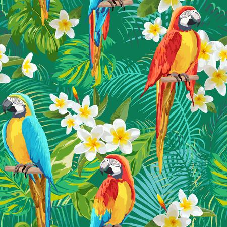 Illustration pour Tropical Flowers and Birds Background - Vintage Seamless Pattern - in vector - image libre de droit
