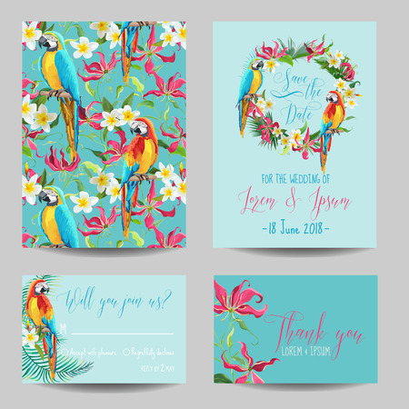 Illustration pour Save the Date Card - Tropical Flowers and Birds - for Wedding, Invitation, Party - in vector - image libre de droit