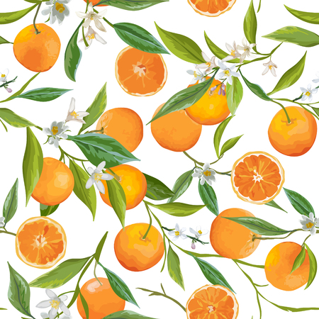 Illustration for Seamless Pattern. Orange Fruits Background. Floral Pattern. Flowers, Leaves, Fruits Background. Vector - Royalty Free Image