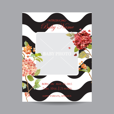Illustration pour Baby Arrival Card with Photo Frame - Hortensia Flowers Theme - in vector - image libre de droit