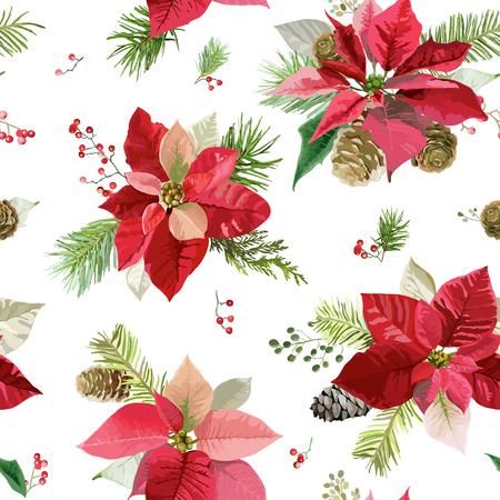 Illustration pour Vintage Poinsettia Flowers Background - Seamless Christmas Pattern - image libre de droit