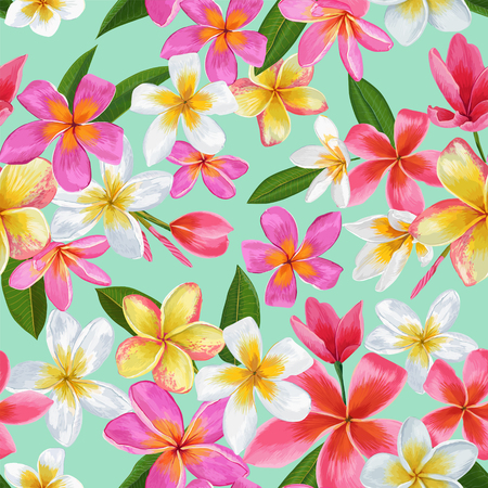 Illustration for Watercolor Tropical Flowers Seamless Pattern. Floral Hand Drawn Background. Exotic Plumeria Flowers Design for Fabric, Textile, Wallpaper. Vector illustration - Royalty Free Image