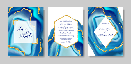 Ilustración de Wedding fashion geode or marble template, artistic covers design, colorful texture, realistic backgrounds. Trendy pattern, geometric brochure, save the date cards, graphic poster. Vector illustration. - Imagen libre de derechos