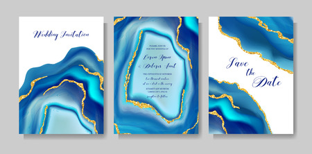 Wedding fashion geode or marble template, artistic covers design, colorful texture, realistic backgrounds. Trendy pattern, geometric brochure, save the date cards, graphic poster. Vector illustration.