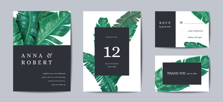 Illustration for Botanical wedding invitation card Template Design, Tropical Leaves in modern style, Collection of Save the date, RSVP in vector - Royalty Free Image
