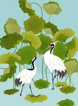 Ilustración de Graphic Illustration of Japaneese Cranes and Tropical Lotus Flowers for T-shirt design, Fashion prints, Banner, Flyer in vector - Imagen libre de derechos