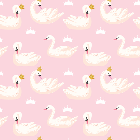 Illustration pour Beautiful Seamless Pattern with white Swans and Crowns, use for Baby Background, Textile Prints, Covers, Wallpaper, Posters. Vector Illustration - image libre de droit