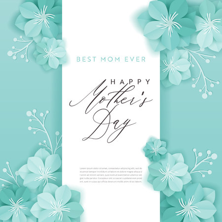 Illustration for Happy Mothers Day Holiday Banner. Mother Day Greeting Card Hello Spring Paper Cut Design with Flowers and Floral Elements Typography Poster. Vector illustration - Royalty Free Image