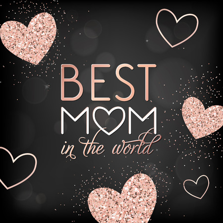 Illustration for Mothers Day Banner Template with Golden Glitter Hearts and Best Mother Text. Mother Day Greeting Card Calligraphy Design with Glowing Elements. Vector illustration - Royalty Free Image