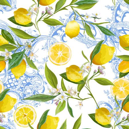 Ilustración de Seamless Pattern with vintage barocco design with yellow Lemon Fruits, Floral Background with Flowers, Leaves, Lemons for Wallpaper, Fabric, Print. Vector illustration - Imagen libre de derechos