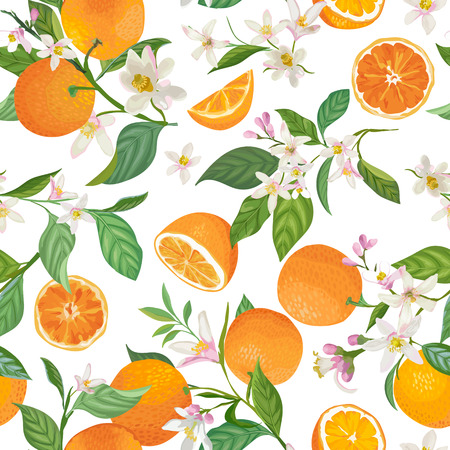 Illustration for Seamless Orange pattern with tropic fruits, leaves, flowers - Royalty Free Image
