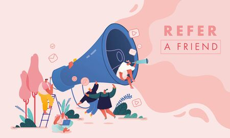 Ilustración de Set of Men and Women with Computer and Megaphone, People characters for Refer a friend Concept. Referral marketing loyalty program, promotion method for landing page, template, ui, web, poster. Vector - Imagen libre de derechos