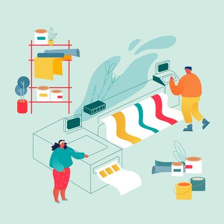 Illustration pour Printshop or Printing Service Center with Man and Woman Working with Widescreen Offset Inkjet Printer. Industrial Polygraphy Electronic Equipment. Advertising Agency Cartoon Flat Vector Illustration - image libre de droit