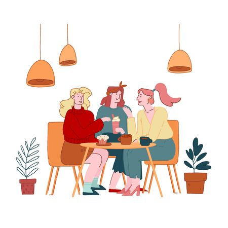 Illustration pour Girls Friends Company Female Characters Sitting in Cafe Chatting and Drinking Coffee with Pastry and Bakery. Students or Office Workers Lunch Break, Weekend Recreation Cartoon Flat Vector Illustration - image libre de droit