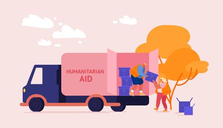 Illustration pour Volunteers Characters Distribute Boxes with Humanitarian Aid. Distribution of Food and Basic Necessities to Refugees, Poor People in Need and Vulnerable Social Groups. Cartoon Vector Illustration - image libre de droit