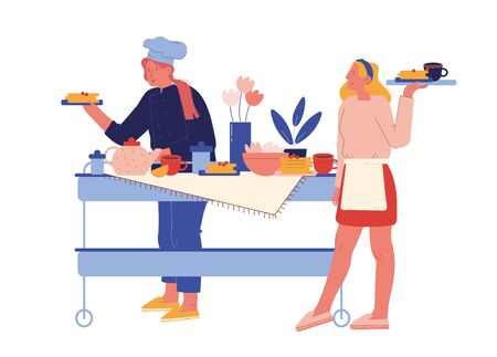 Illustration pour Hotel Staff Serving Breakfast. Female Characters in Uniform Stand at Table with Various Meals for Guests. Hospitality Restaurant Service, Touristic Business Concept. Cartoon People Vector Illustration - image libre de droit