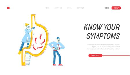 Gastroenterology Landing Page Template. Doctor Character Stand on Ladder at Huge Stomach. Patient at Feel Pain, Medic Study Stomachache of Gastritis or Helicobacter. Linear People Vector Illustration