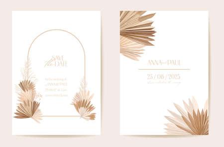 Ilustración de Wedding invitation dried tropical palm leaves, flowers card, dry pampas grass watercolor template - Imagen libre de derechos
