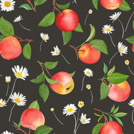 Illustration pour Apple pattern with daisy, autumn fruits, leaves, flowers background. Vector seamless texture - image libre de droit