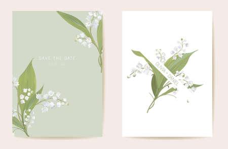 Illustration pour Watercolor lily floral wedding card. Vector spring flower, rustic blossom, leaves invitation. Boho template frame - image libre de droit