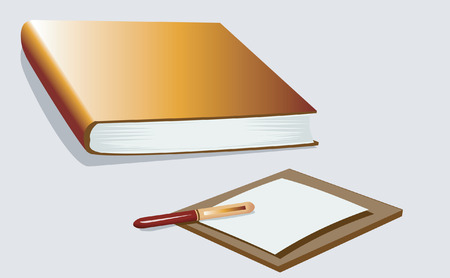 Book, pen and a notepad on a board