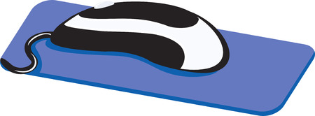 black and white mouse on a blue mouse pad