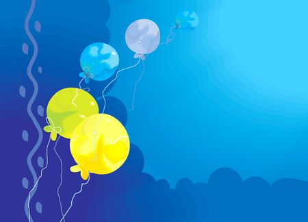 Illustration of Colourful balloons as border