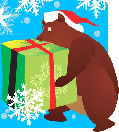 Illustration of A bear with a hat carrying a huge gift tied with red ribbon