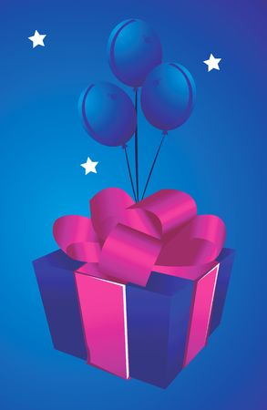 Illustration of a gift box tie up with rose ribbon with three balloons and background with three stars