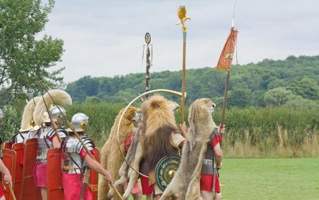 roman soldiers in the army on the march
