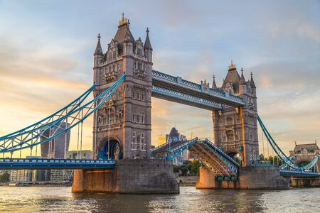 Photo for Tower Bridge in London at sunset. This is one of the oldest bridges and landmarks and a popular tourist attraction. - Royalty Free Image