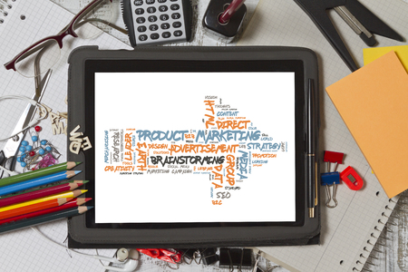 Product Marketing word cloud shaped as a arrow to the right
