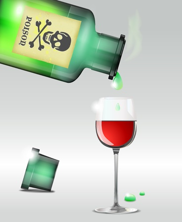Pouring poison into the wine. Vector file.