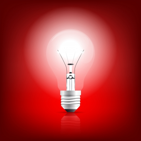 Bulb glowing on a red background