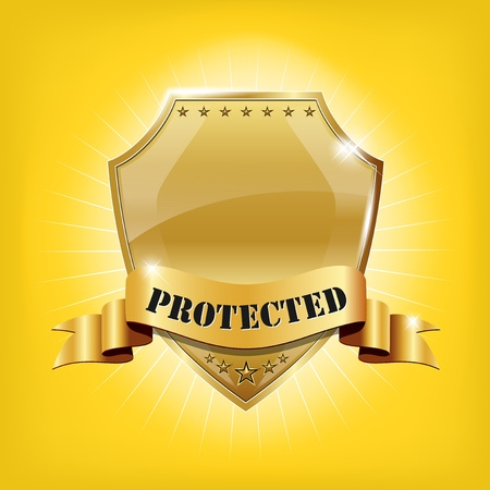 Glossy security golden shield - PROTECTED