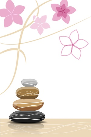 Spa stones and abstract flowers - place for your text