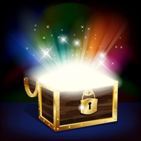Illustration pour Chest with glowing treasure - image libre de droit