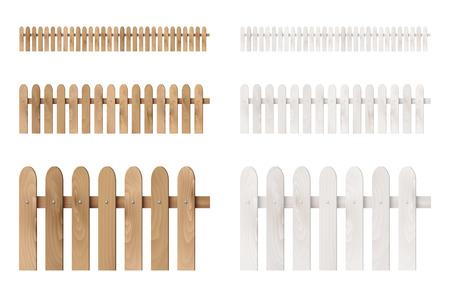 Set of wooden fences isolated on white background. Vector illustration.