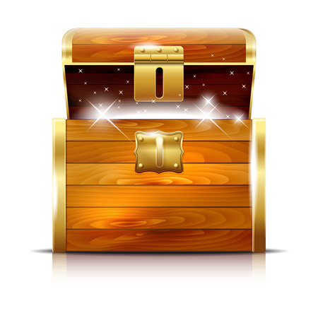 Illustration pour Wooden chest with glowing treasure on white background - vector illustration - image libre de droit