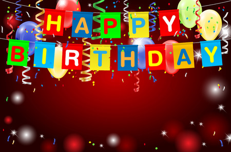 Illustration pour Happy Birthday party background with lights, confetti, inflatable balloons and place for your text. illustration. - image libre de droit