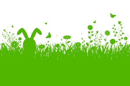 Ilustración de Spring silhouette easter background with abstract grass, flowers, bunny and butterflies - vector illustration - Imagen libre de derechos