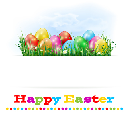 Happy Easter card with easter eggs, grass, flowers and sky - isolated on white background. Place for text. Vector illustration.の素材 [FY31053851986]