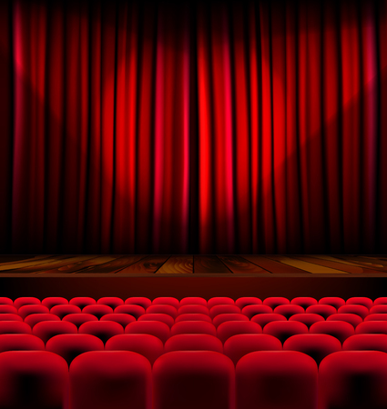 Illustration for Theater auditorium with rows of red seats and stage with curtain - vector illustration - Royalty Free Image