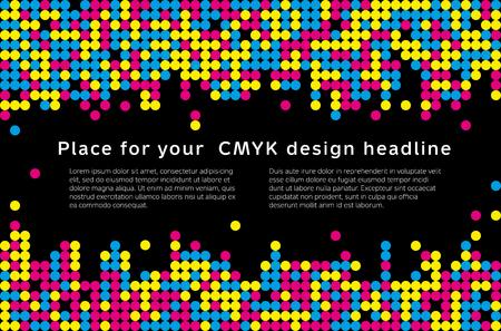 Ilustración de Abstract mosaic background from CMYK colors with place for text - print concept. Vector illustration. - Imagen libre de derechos