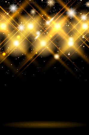Illustration pour Abstract dark background with shiny golden lights - copy space for your text or object. Vector illustration. - image libre de droit